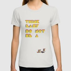 Think easy. Womens Fitted Tee Silver SMALL