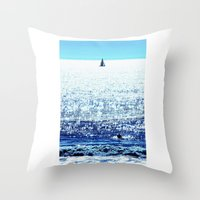 Sailboat and Swimmer Throw Pillow