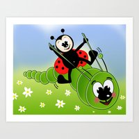 Ladybug and Caterpillar Art Print