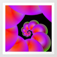 Spiral Spheres in Red Pink and Green Art Print