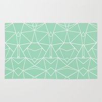 Abstract Mirror Mint Rug