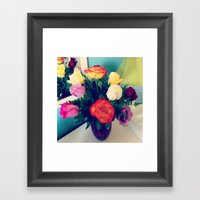Rose Bouquet Pop Framed Art Print