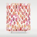 Watercolor Leaf Pattern in Autumn Colors Shower Curtain