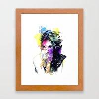 Milla fashion portrait girl watercolor tye and dye face Framed Art Print