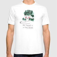 My head is in the forests White SMALL Mens Fitted Tee