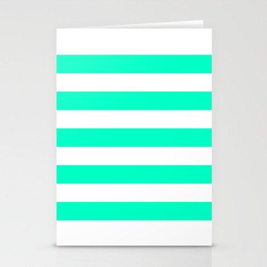 Mint White Stripes Stationery Card
