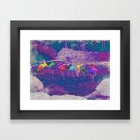 FLAMINGO-RAINBOW 014 Framed Art Print