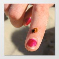Ladybug On A Lady's Fing… Canvas Print