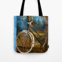 Blue Bicycle Tote Bag