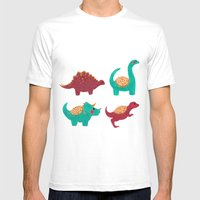 The Dinosaurs Pattern Mens Fitted Tee White SMALL