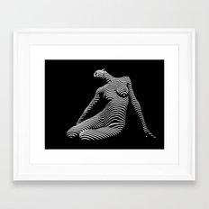 0075-DJA Zebra Seated Nude Woman Yoga Black White Abstract Curves Expressive Line Slim Fit Girl  Framed Art Print