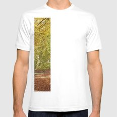 Remote country road through Autumnal woodland. Norfolk, UK. White Mens Fitted Tee SMALL