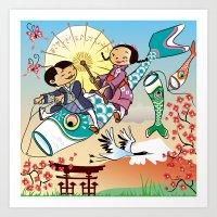 Japan Flying Fish Art Print