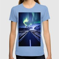 Road To Aurora  Womens Fitted Tee Tri-Blue SMALL