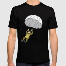 American Paratrooper Parachute Cartoon Mens Fitted Tee Black SMALL
