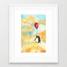Penguin and a Red Balloon Framed Art Print