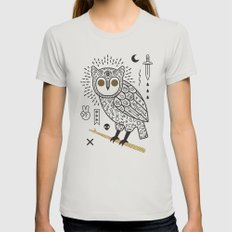 Hypno Owl Womens Fitted Tee Silver MEDIUM