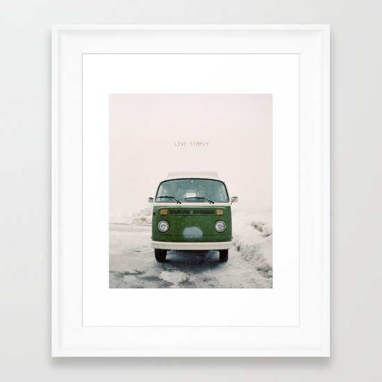 LIVE SIMPLY. Vintage Volkswagen Van.  Framed Art Print