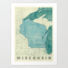 Wisconsin State Map Blue… Art Print