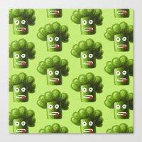 Green Funny Cartoon Broccoli  Canvas Print