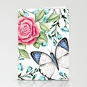 Butterfly and rose Stationery Cards