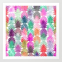 Bright exotic pineapples pastel watercolor pattern Art Print