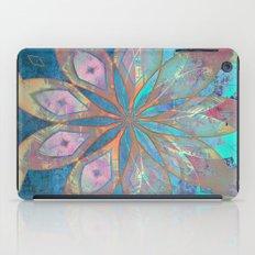 361 14 Coral and Blue Abstract Mandala Tile iPad Case
