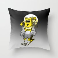 StormBot - yellow robot Throw Pillow