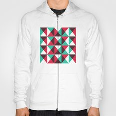Red, turquoise, black triangle pattern Hoody
