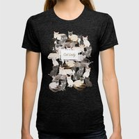 Cat lady Womens Fitted Tee Tri-Black SMALL