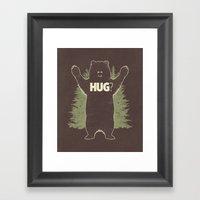 Bear Hug? (dark version) Framed Art Print