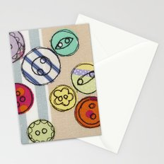 Embroidered Button Illustration Stationery Cards