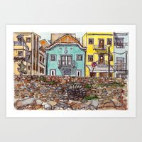 Buarcos Buildings, Portugal Art Print