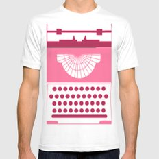 Typewriter White SMALL Mens Fitted Tee