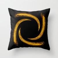Golden Swirl Throw Pillow
