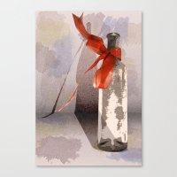 Red Ribbon Bottle Canvas Print