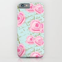 Pink  Roes and French Script iPhone 6 Slim Case
