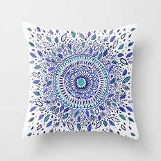 Indigo Flowered Mandala Throw Pillow