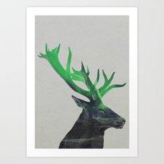 Deer In The Aurora Borealis Art Print