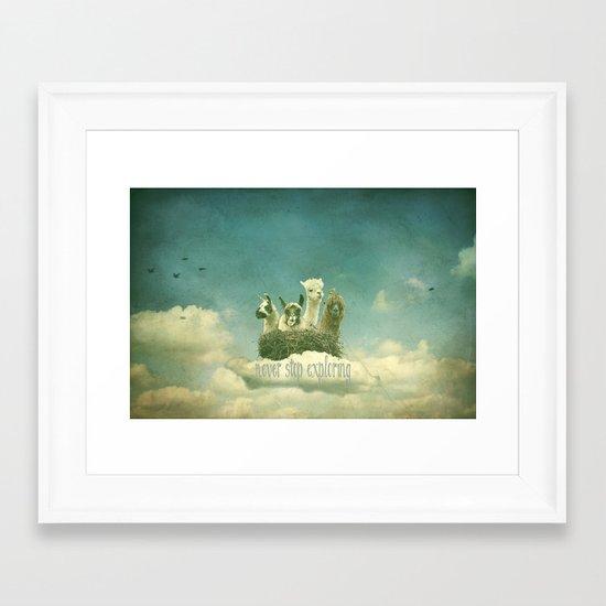 Never Stop Exploring Framed Art Print