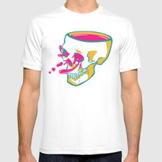 Liquid thoughts:Skull White SMALL Mens Fitted Tee