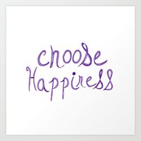 Choose Happiness (purple) Art Print