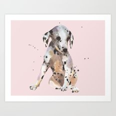 Rose Gray Dalmatian Art Print