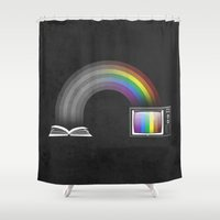 Watching Rainbow Shower Curtain