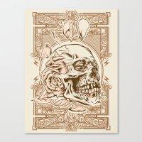 Skull Flower Art Print Canvas Print