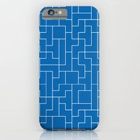 White Tetris Pattern on Blue iPhone 6 Slim Case