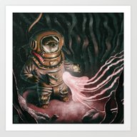 Art Print featuring Deep Sea Diver by Benpannell