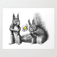Squirrels - Love Gift G1… Art Print