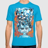 Denial process Mens Fitted Tee Teal SMALL