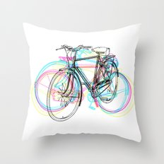Artistic modern pink teal abstract bicycles art Throw Pillow